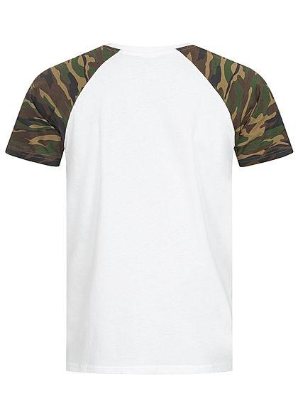 Urban Classics Herren 2-Tone Raglan T-Shirt weiss wood camo