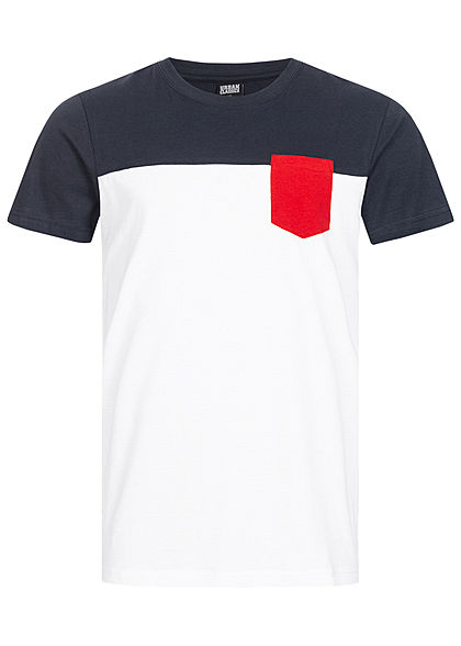 Urban Classics Herren Colorblock Pocket T-Shirt weiss navy rot