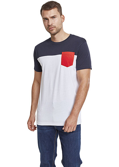 Urban Classics Herren Colorblock Pocket T-Shirt weiss navy rot
