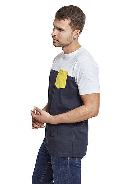 Urban Classics Herrn T-Shirt Colorblock Pocket navy blau weiss gelb