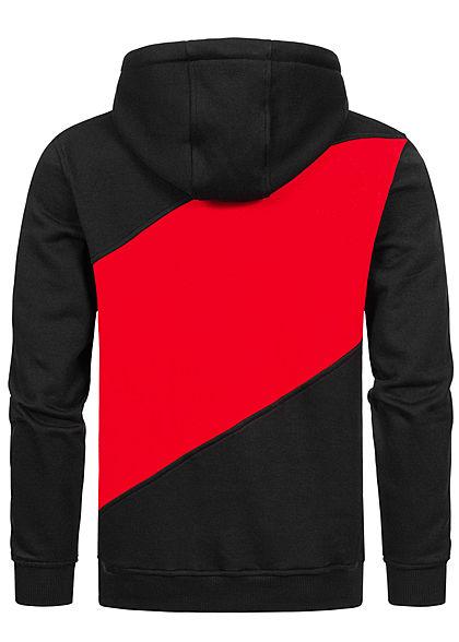 Urban Classics Herren Colorblock Zick Zack Hoddie Kapuze schwarz rot grau