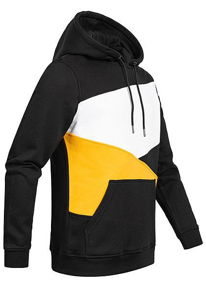 Urban Classics Herren Colorblock Zick Zack Hoodie schwarz chrome gelb weiss