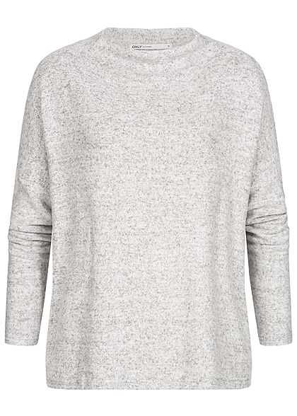 ONLY Damen Oversized High-Neck Soft Touch Pullover hell grau melange