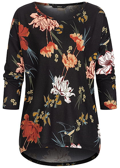 ONLY Damen NOOS 4/5 Arm Shirt Blumen Muster Vokuhila schwarz multicolor