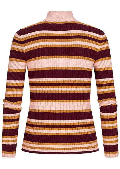 ONLY Damen Ribbed High-Neck Pullover Longsleeve Streifen Muster tawny port rot mc