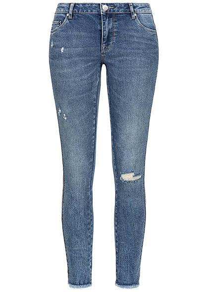 ONLY Damen Ankle Carmen Jeans 5-Pockets Destroy Look hell blau denim
