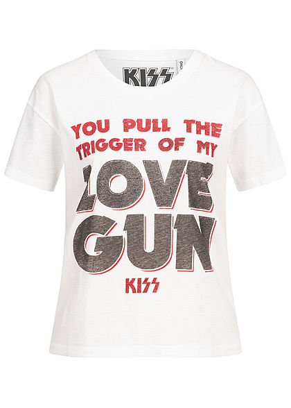 ONLY Damen KISS T-Shirt Love Gun Print cloud dancer weiss