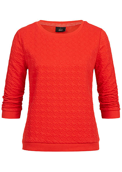 ONLY Damen 3/4 Sleeve Structure Sweater fiery rot