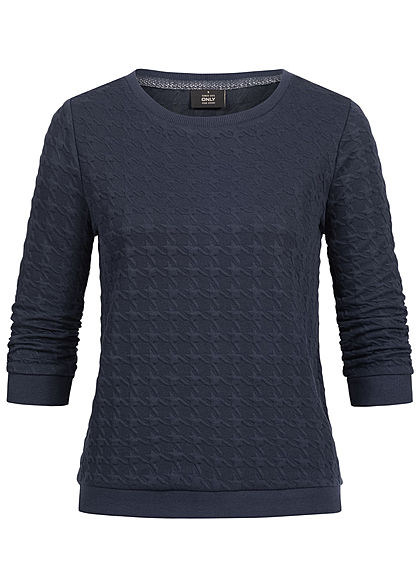 ONLY Damen 3/4 Sleeve Structure Sweater night sky navy blau