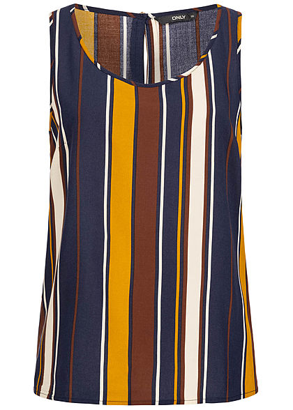 ONLY Damen Striped Blouse Top night sky blau multicolor