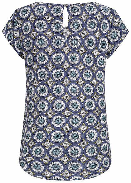 ONLY Damen Blouse Shirt Mandala Print blau cloud dancer weiss