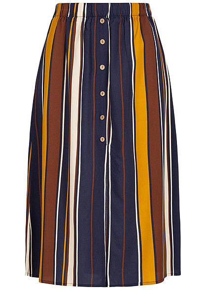ONLY Damen Striped Midi Skirt Buttons Front night sky blau multicolor