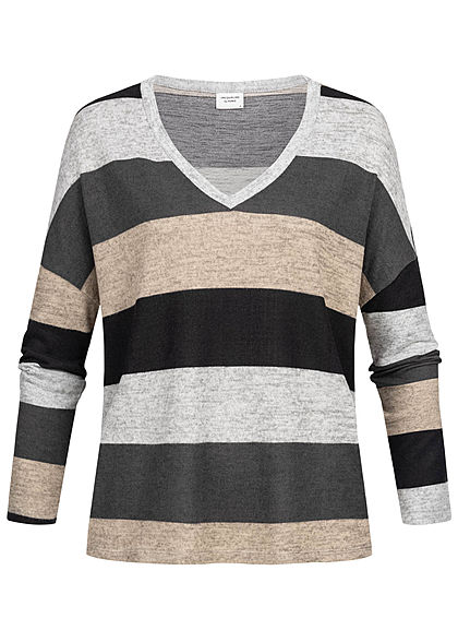 JDY by ONLY Striped Soft Touch V-Neck Longsleeve hell grau schwarz beige