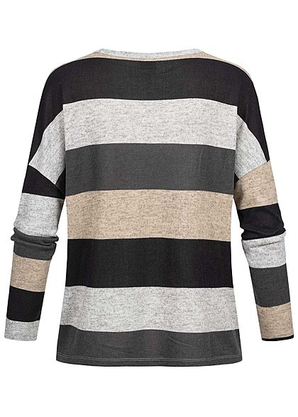 JDY by ONLY Striped Soft Touch V-Neck Longsleeve hell grau schwarz beige