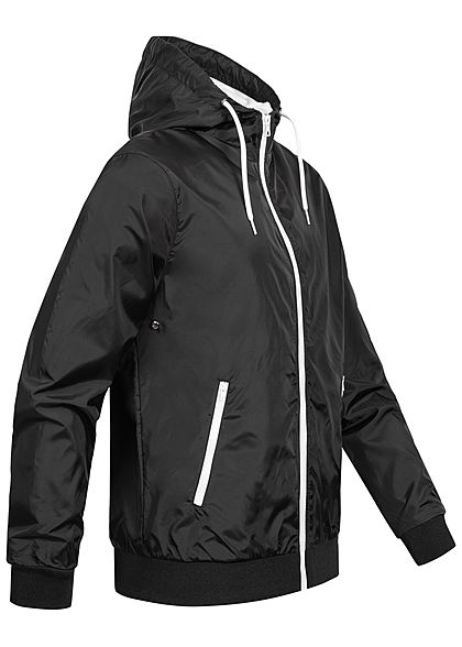 Urban Classics Herren Windrunner Jacke mit Kontrastdetails schwarz weiss