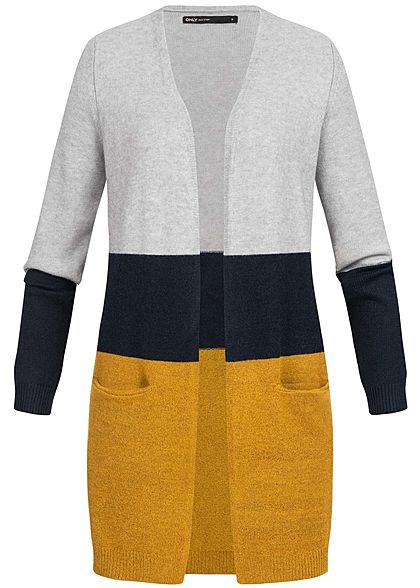 ONLY Damen Long Cardigan Colorblock NOOS chai tea gelb grau blau