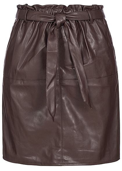 ONLY Damen Belted Fake Leather Paper Bag Skirt 2-Pockets chocolate plum braun