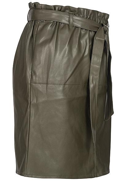 ONLY Damen Belted Fake Leather Paper Bag Skirt 2-Pockets forest night olive grün