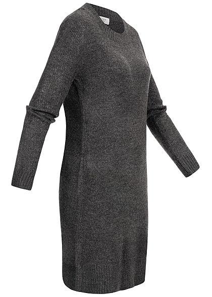 JDY by ONLY Damen NOOS Strickkleid mit Rippbündchen dunkel grau melange