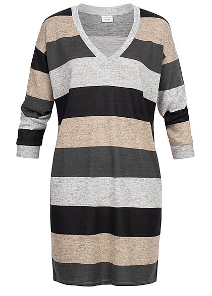JDY by ONLY Damen Striped Oversize Knit Dress hell grau schwarz beige melange