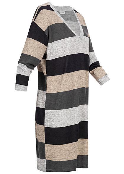 JDY by ONLY Damen Striped Oversize Knit Dress hell grau schwarz beige melange