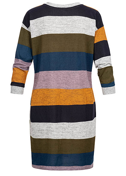 JDY by ONLY Damen Striped Oversize Knit Dress hell grau lila gelb blau