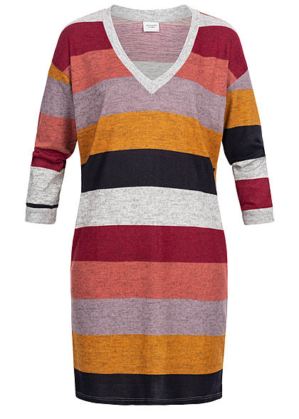 JDY by ONLY Damen Striped Oversize Knit Dress hell grau rhododendron rot lila gelb