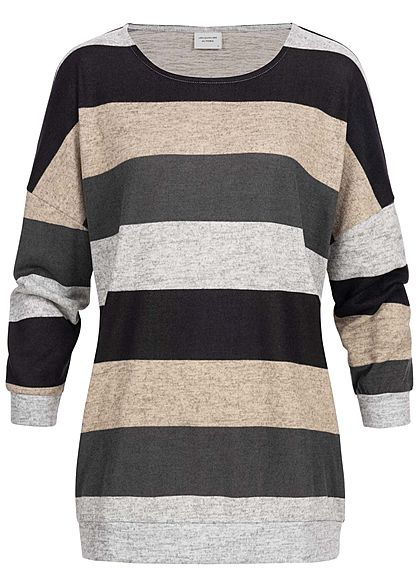 JDY by ONLY Damen 3/4 Bat Sleeve Striped Oversize Sweater hell grau schwarz