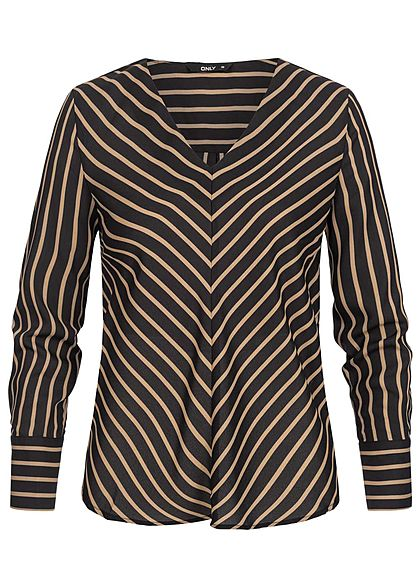 ONLY Damen Striped V-Neck Blouse schwarz rosa