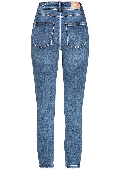 ONLY Damen NOOS Skinny Ankle Jeans Hose 5-Pockets Super High-Waist medium blau denim
