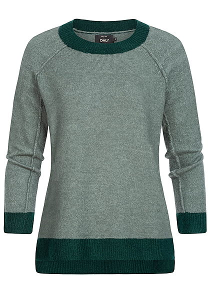 ONLY Damen Strick Pullover Sweater Vokuhila balsam grün