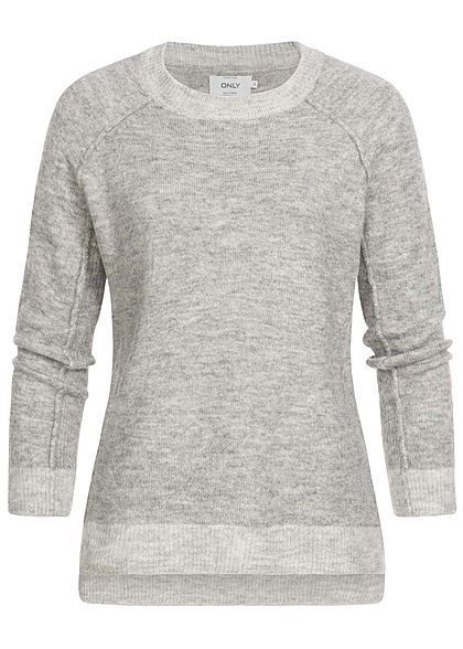 ONLY Damen Strick Pullover Sweater Vokuhila medium grau melange