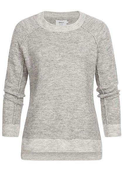 online store 84a6d 59729 ONLY Damen Strick Pullover Sweater Vokuhila medium grau melange