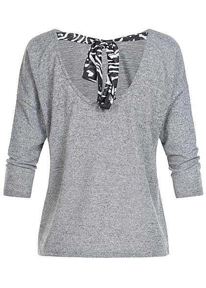 ONLY Damen 3/4 Arm Shirt Neckholder medium grau mel