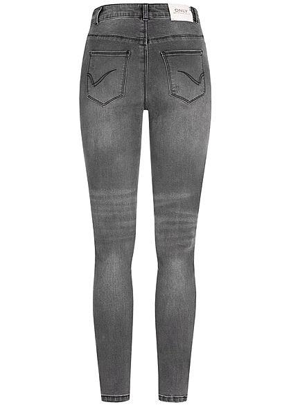 ONLY Damen Ankle Skinny Jeans High-Wasit 5-Pockets Destroy Look washed schwarz denim