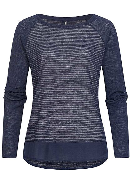 ONLY Damen Lurex Glitzer Longsleeve night sky navy blau