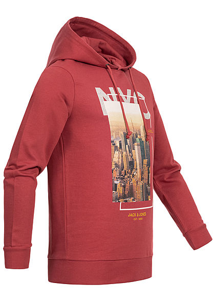 Jack and Jones Herren Hoodie City Print brick rot
