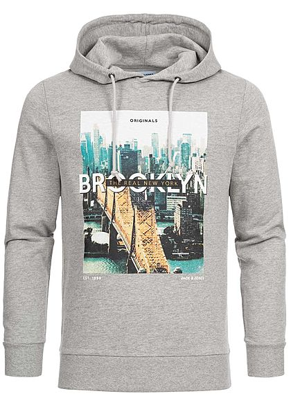 Jack and Jones Herren Hoodie City Print hell grau melange
