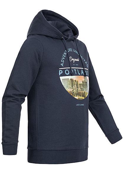 Jack and Jones Herren Hoodie City Print navy blazer blau