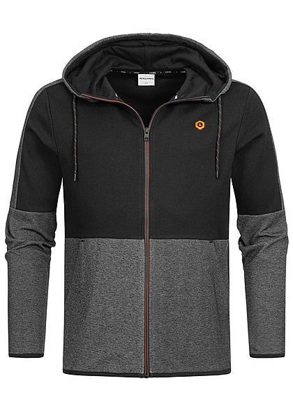 Jack and Jones Herren Sweat Zip Hoodie 2-Pockets schwarz melange - Art.-Nr.: 19083682