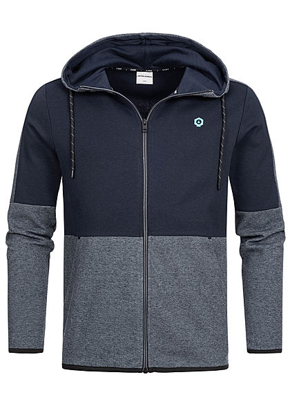 Jack and Jones Herren Sweat Zip Hoodie 2-Pockets sky captain blau - Art.-Nr.: 19083683