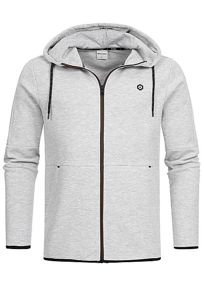 Jack and Jones Herren Sweat Zip Hoodie 2-Pockets hell grau melange - Art.-Nr.: 19083684