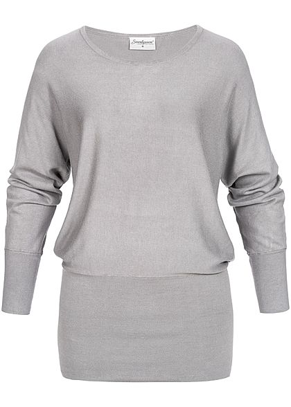 Seventyseven Lifestyle Damen Long Soft Sweater hell grau