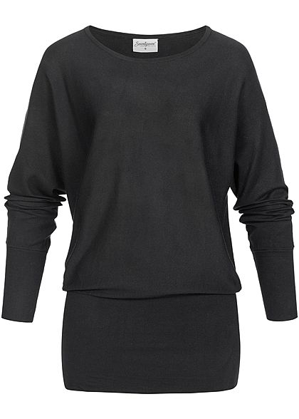 Seventyseven Lifestyle Damen Long Soft Sweater schwarz