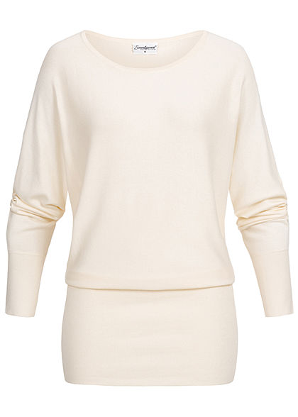 Seventyseven Lifestyle Damen Long Soft Sweater ecru off weiss