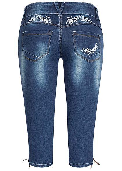 Seventyseven Lifestyle Damen Trachten Capri Shorts 5-Pockets medium blau denim