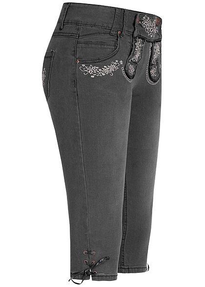 Seventyseven Lifestyle Damen Trachten Capri Shorts 5-Pockets schwarz denim