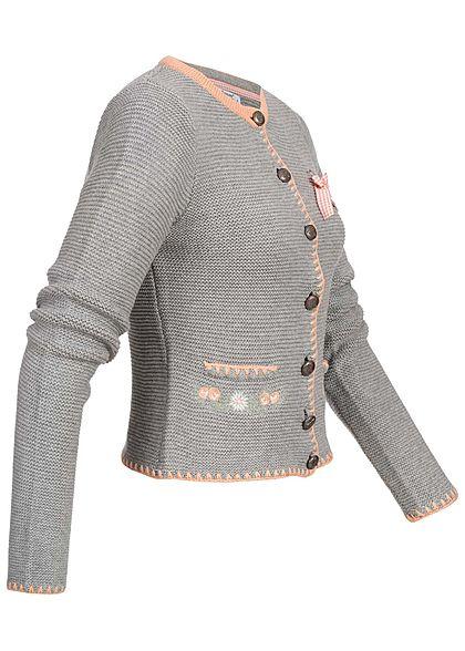 Seventyseven Lifestyle Damen Trachten Strickjacke grau rosa