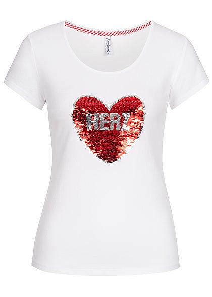 Seventyseven Lifestyle Damen T-Shirt Wendepailletten Madl Herz weiss rot