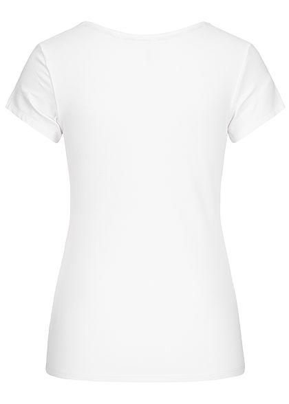 Seventyseven Lifestyle Damen T-Shirt Pailletten Herz weiss silber